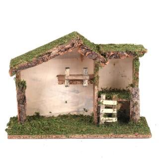 Crèche de Noël traditionnelle vide - Etable bois et mousse