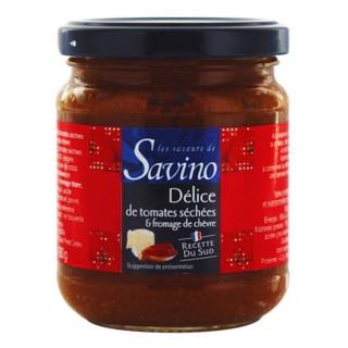 Délice de tomates séchées et fromage de chèvre - Recette du Sud - Les Saveurs de Savino - pot 180g