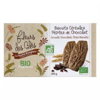 Biscuits BIO petit déjeuner céréales & pépites chocolat - Fleurs des Blés - paquet 205g