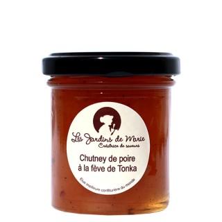 Chutney de poire à la fève de Tonka - Les Jardins de Marie - Meilleure confiturière de Monde - pot 100g