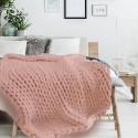 Plaid grosse maille Chunky - L. 150 x l. 120 cm - Rose