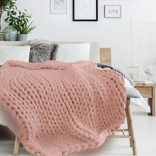 Plaid grosse maille Chunky - L. 150 x l. 120 cm - Rose