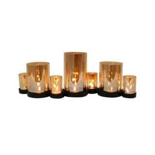 Photophore en verre Cosy Candle - 7 Bougies - Marron cuivré