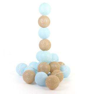 Guirlande lumineuse 20 LED Boules Céleste - L. 345 cm - Bleu et doré