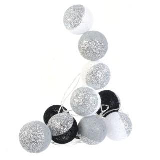 Guirlande lumineuse 10 LED Boule Céleste - L. 192 cm - Argent et noir
