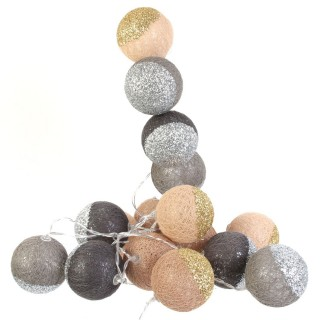 Guirlande lumineuse 16 LED Boule Céleste - L. 300 cm - Marron et gris