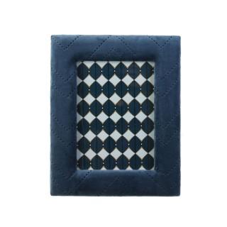 Cadre photo en velours vintage Alphonse - L. 13 x l. 18 cm - Bleu