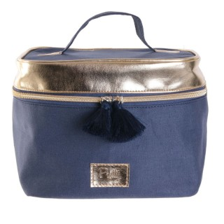 Trousse de toilette vanity Gold - L. 20 x H. 17 cm - Bleu