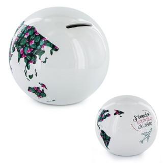 Tirelire globe Mappemonde - Blanc