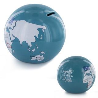 Tirelire globe Mappemonde - Bleu