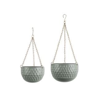 2 Cache-pots suspendus design métal Staunch - Vert jade