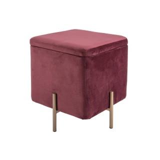 Pouf design velours chic Snog - H. 47 cm - Rouge terracotta