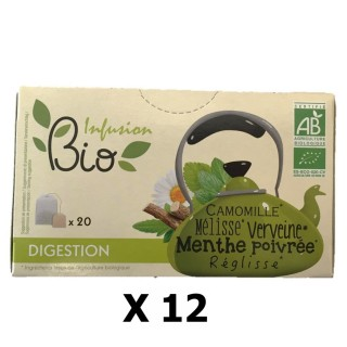 Lot 12x Infusion BIO : Camomille, Mélisse, Verveine, Menthe poivrée, Réglisse - Digestion - 20 sachets
