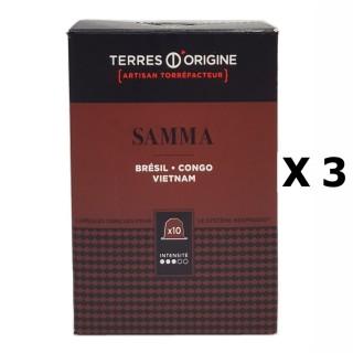 Lot 3x Capsules café Samma intensité 3/5 - Terres d'Origine - boîte 55g soit 10 capsules conçues pour le système Nespresso