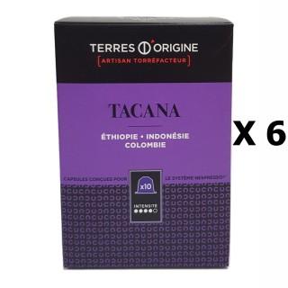Lot 6x Capsules café Tacana intensité 4/5 - Terres d'Origine - boîte 55g soit 10 capsules conçues pour le système Nespresso