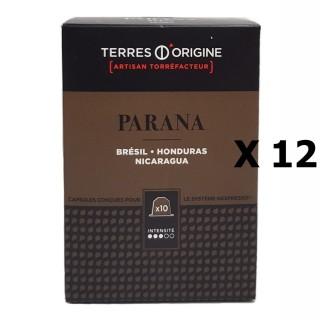 Lot 12x Capsules café Parana intensité 3/5 - Terres d'Origine - boîte 55g soit 10 capsules conçues pour le système Nespresso