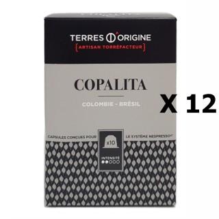 Lot 12x Capsules café Copalita intensité 2/5 -Terres d'Origine - boîte 55g soit 10 capsules conçues pour le système Nespresso