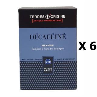 Lot 6x Capsules café décaféiné intensité 2/5 - Terres d'Origine - Boîte 55g soit 10 capsules conçues pour le système Nespresso