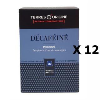 Lot 12x Capsules café décaféiné intensité 2/5 Terres d'Origine - Boîte 55g soit 10 capsules conçues pour le système Nespresso