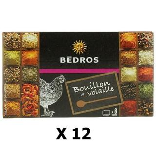 Lot 12x Bouillon de volaille - Bedros - 8 cubes - paquet 80g