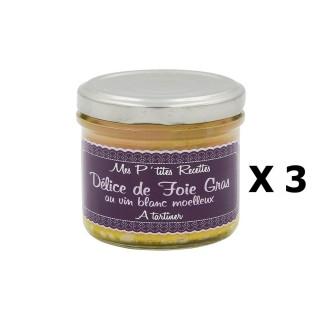 Lot 3x Délice de foie gras au vin blanc moelleux - France - Mes P'tites Recettes - pot 100g