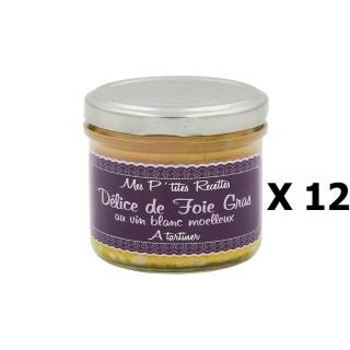 Lot 12x Délice de foie gras au vin blanc moelleux - France - Mes P'tites Recettes - pot 100g