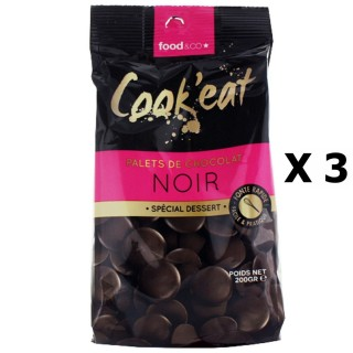 Lot 3x Palets de chocolat noir - spécial dessert - Cook'eat - sachet 200g