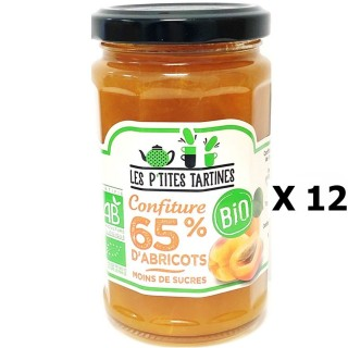 Lot 12x Confiture abricot 65% Bio - Les P'tites Tartines - pot 255g