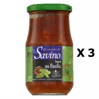 Lot 3x Sauce au basilic cuisinée en Provence - France - Les Saveurs de Savino - pot 350g