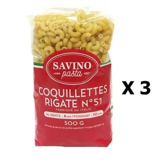 Lot 3x Pâtes Coquillettes Rigate n°51  - Savino Pasta - paquet 500g
