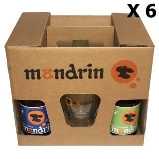 Lot 6x Coffret cadeau 4x33cl Bières artisanales Mandrin + 2 verres Mandrin 25cl - Brasserie du Dauphiné