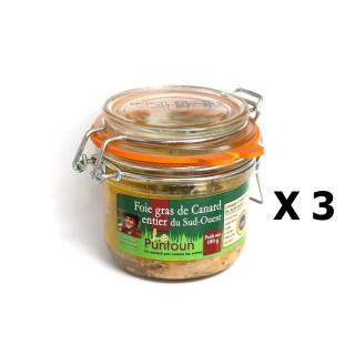 Lot 3x Foie gras de canard entier du Sud Ouest IGP - La Ferme du Puntoun - bocal : 180g