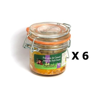 Lot 6x Foie gras de canard entier du Sud Ouest IGP - La Ferme du Puntoun - bocal : 90g