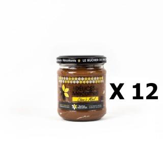 Lot 12x Pâte à tartiner Choco Miel (miel et chocolat) - Monts du Lyonnais - Rhône Alpes - Le Rucher de Macameli - pot 225g
