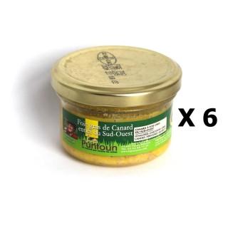 Lot 6x Foie gras de canard entier du Sud Ouest IGP - La Ferme du Puntoun - bocal : 70g