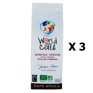 Lot 3x Café moulu BIO Honduras / Tanzanie - World Café Jacques Chapuis - paquet 250g