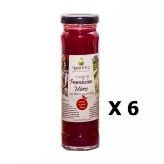 Lot 6x Coulis de framboises & mûres - Mont du Lyonnais - Terr'étic fruit du travail paysan - bocal 156ml
