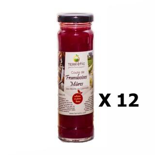 Lot 12x Coulis de framboises & mûres - Mont du Lyonnais - Terr'étic fruit du travail paysan - bocal 156ml