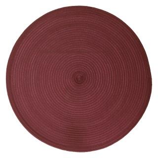 Set de table tressé rond Oscar - Diam. 38 cm - Rouge bordeaux