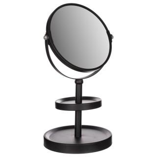 Miroir de salle de bain grossissant à poser - H. 34 cm - Noir