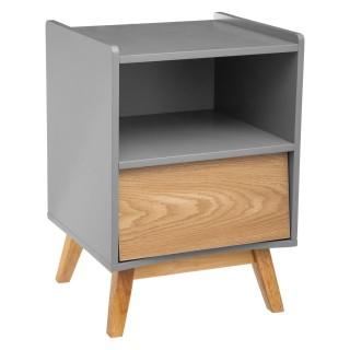 Table de chevet en bois scandinave Elva - L. 43 x H. 62 cm - Gris