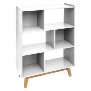 Etagère bibliothèque scandinave en bois Elva - L. 80 x H. 112 cm - Blanc