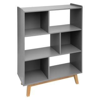 Etagère bibliothèque scandinave en bois Elva - L. 80 x H. 112 cm - Gris