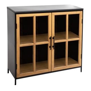 Buffet vitré design en métal Baris - L. 102 x H. 101 cm - Noir