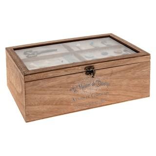 Boîte à couture en bois Atelier d'hivers - L. 30 x H. 10 cm - Marron
