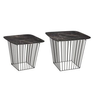 2 Tables d'appoint design effet marbre Olyt - Noir