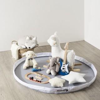 Tapis à remballer panier à jouets Douceur - Diam. 140 cm - Gris