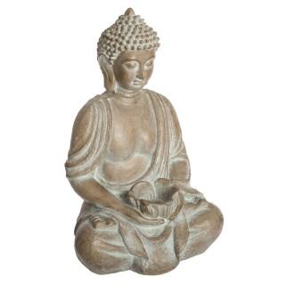 Statuette de Bouddha Eté Indien - H. 39 cm - Beige effet blanchi