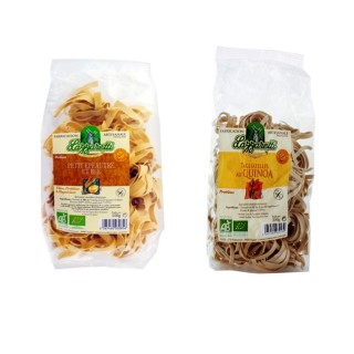 Lot 2x250g - Pâtes BIO : ruban petit épeautre et blé + tagliatelle quinoa - Lazzaretti