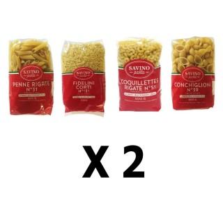 Lot 8x500g - Pâtes Fidelini Corti + Penne Rigate + Conchiglioni + Coquilettes - Savino Pasta